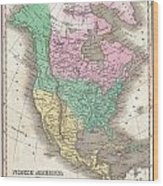 1827 Finley Map Of North America Wood Print