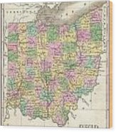 1827 Finley Map Of Ohio Wood Print