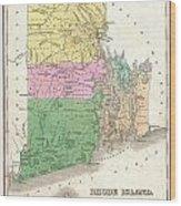 1827 Finley Map Of Rhode Island Wood Print