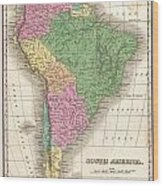 1827 Finley Map Of South America Wood Print
