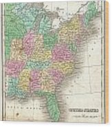 1827 Finley Map Of The United States Wood Print