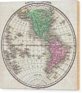 1827 Finley Map Of The Western Hemisphere Wood Print