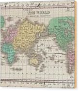 1827 Finley Map Of The World Wood Print