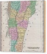 1827 Finley Map Of Vermont Wood Print