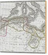 1829 Lapie Map Of The Eastern Mediterranean Morocco And The Barbary Coast Wood Print