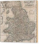1830 Pigot Pocket Map Of England And Wales Wood Print