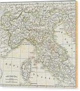 1832 Delamarche Map Of Northern Italy And Corsica Wood Print
