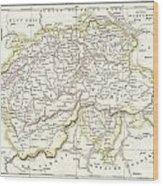 1832 Delamarche Map Of Switzerland Wood Print