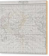 1832 Malte Brun Map Of The World On Mercator Projection Wood Print