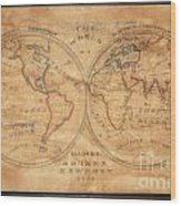 1833 School Girl Manuscript Wall Map Of The World On Hemisphere Projection  Wood Print