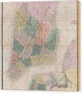 1835 David Burr Map Of New York City Wood Print