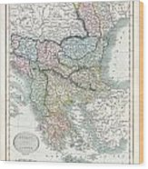 1836 Cary Map Of Greece And The Balkans Wood Print
