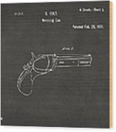 1836 First Colt Revolver Patent Artwork - Gray Wood Print