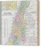 1836 Tanner Map Of Palestine  Israel  Holy Land Wood Print