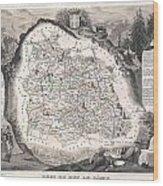 1852 Levasseur Map Of The Department Du Puy De Dome France Wood Print