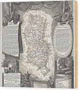 1852 Levasseur Map Of The Department Du Rhone France  Beaujolais Wine Region Wood Print