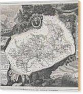 1852 Levasseur Map Of The Department Hautes Alpes France  Wood Print