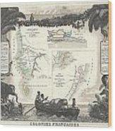 1852 Levassuer Map Of Senegal Senegambia And Madagascar Wood Print