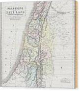 1852 Philip Map Of Palestine  Israel  Holy Land Wood Print