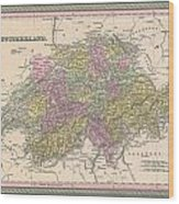 1853 Mitchell Map Of Switzerland  Wood Print