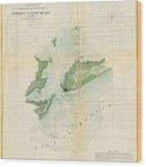 1853 Us Coast Survey Map Or Chart Of Bartaria Bay Louisiana Wood Print