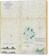 1853 Us Coast Survey Map Or Chart Of Sow And Pigs Reef Off Marthas Vineyard Massachussetts Wood Print