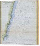 1853 U.s.c.s. Map Of The Virginia Coast Wood Print