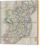 1853 Wyld Pocket Or Case Map Of Ireland Wood Print