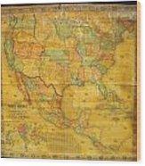 1854 Jacob Monk Wall Map Of North America Wood Print