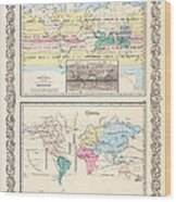 1855 Antique World Maps Illustrating Principal Features Of Meteorology Rain And Principal Plants Wood Print