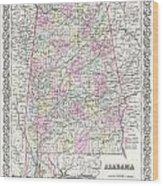 1855 Colton Map Of Alabama Wood Print