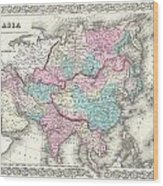 1855 Colton Map Of Asia Wood Print