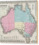1855 Colton Map Of Australia Wood Print