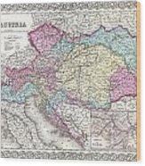 1855 Colton Map Of Austria Hungary And The Czech Republic Wood Print