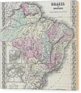 1855 Colton Map Of Brazil And Guyana Wood Print