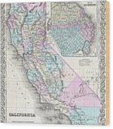 1855 Colton Map Of California And San Francisco Wood Print