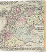 1855 Colton Map Of Columbia Venezuela And Ecuador Wood Print