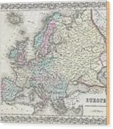 1855 Colton Map Of Europe Wood Print