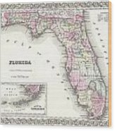 1855 Colton Map Of Florida Wood Print