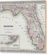1855 Colton Map Of Florida Wood Print