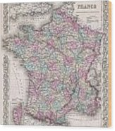1855 Colton Map Of France Wood Print