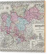 1855 Colton Map Of Hanover And Holstein Germany Wood Print