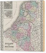 1855 Colton Map Of Holland And Belgium Wood Print
