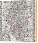 1855 Colton Map Of Illinois Wood Print