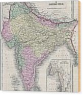 1855 Colton Map Of India Or Hindostan Wood Print