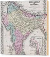 1855 Colton Map Of India Wood Print