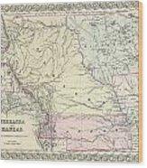 1855 Colton Map Of Kansas And Nebraska  Wood Print