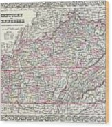 1855 Colton Map Of Kentucky And Tennessee Wood Print