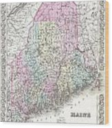 1855 Colton Map Of Maine Wood Print