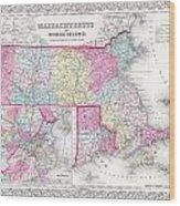 1855 Colton Map Of Massachusetts And Rhode Island Wood Print